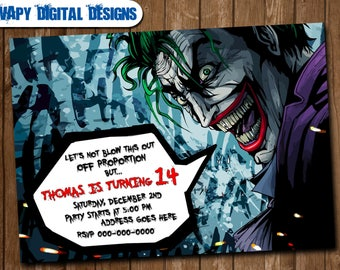 Joker invitations Etsy
