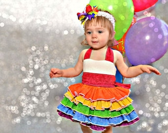 Over the Top Rainbow-Colored Ruffle Dress - Boutique-style - Halter - Birthday - Party - Celebration - Photo Shoot