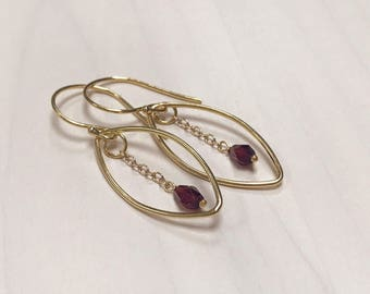Handmade Faceted Garnet Teardrops with 24ct Yellow Gold Vermeil Dangle Earrings - January Birthstone