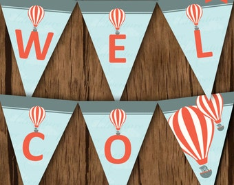 Up Up and Away Baby Shower Party Banner, Adventure Baby Shower Banner, Hot Air Balloon Party Banner, Up Up and Away Party Banner