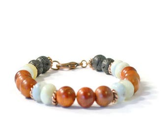 Essential Oil Diffuser Bracelet, Lava Rock, Raja Kayu Wood, Aquamarine Gemstones, and Antique Copper, Aromatherapy Jewelry