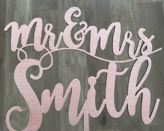 Personalised Wood Mr and Mrs Cake Topper wooden - Rose Gold, Silver, Gold, Copper, With Custom Name Script, Rustic Topper, Wedding