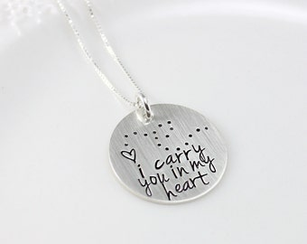 i carry you in my heart necklace, grief and mourning, grief jewelry, sterling silver, christmas gift, gift for women, handstamped gift, tyi
