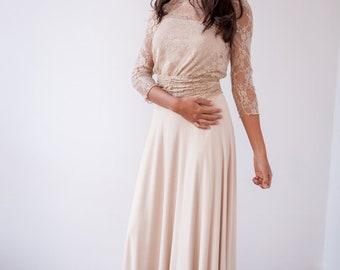 Champagne bridal skirt, long simple skirt, light beige long skirt, beige maxi skirt, wedding skirt, simple long skirt, long champagne skirt