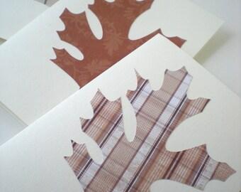 Oak Leaf 3-Card Set Handmade Autumn Fall Woodland Forest Natural Earth Tones