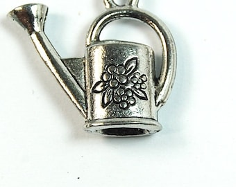 Watering Can, Garden, Silver Pewter Charm -1