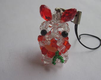 1 Rabbit charm and glass beads - 16 mm high (3)
