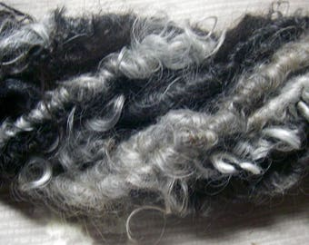 Handspun Corespun Curly Wool Locks in Natural Colors of Black Silver Grey Art Yarn  by KnoxFarmFiber for Embellishment Knit Weave