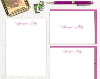 complete personalized stationery set - EXQUISITE TYPE - notecards - notepad - custom stationary - letter writing - gift set - pretty font