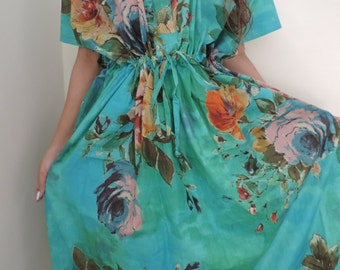 Caftan, Kaftan, Floral Kaftan, Free Size Shirt, Perfect long dress, For to be Moms, beach cover up, Sleepwear, Caftan dress , Gift for Her