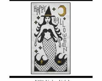 PDF E pattern emailed Mermaid Witch Halloween Cross Stitch Pattern Sampler Design 131