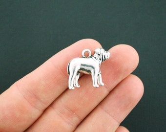 2 Bulldog Charms Antique Silver Tone Amazing 3D Detail Dog Charm - SC5045