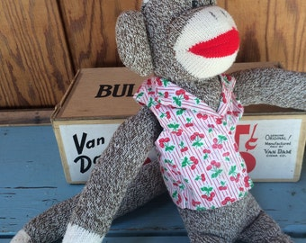 Hand Made Classic Sock Monkey, Red Heel Sock Monkey Doll, New Old Stock Stuffed Monkey, 1990's