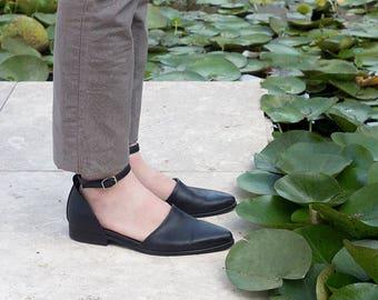 Closed-toe Sandals, Women Elegant Shoes, Black Loafers, Spring Shoes, Black Leather Flats, Ankle Strap Sandals, Women dress Shoes