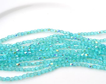 Light teal  AB 3mm Faceted Fire Polish Round Czech GLass Beads  50