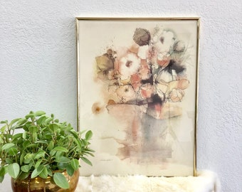 "Eclectic Vintage Floral Print / Abstract Pastel Flower Art in Gold Frame / ""Floral Fantasy"" by B. Weldon"
