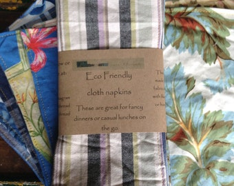 Cloth napkin set of four, mix and match, Zero waste kitchen, zero waste lunch