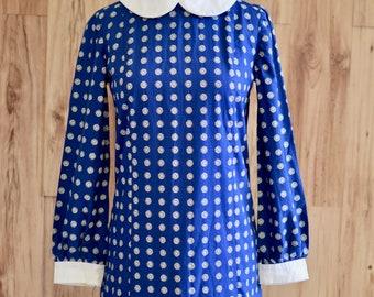 1960s Navy & White Zodiac Sun Dress, Sixties Novelty Print Peter Pan Collar Dres, Mod Dress w/ Collar and Cuffs, Twiggy Style Gogo Dress