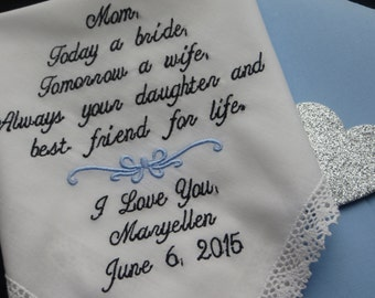 Mother of he Bride Embroidered Wedding Handkerchief. Beach Wedding. You may choose the verse shown or choose your own with a 30 word limit.