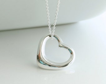 Large heart, silver necklace - LARGE HEART
