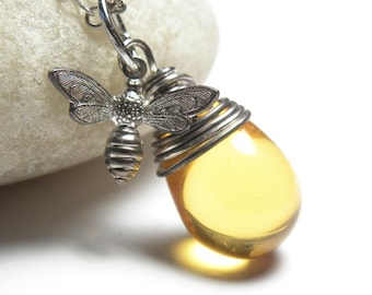 Honey Bee Necklace- Bee- Bee Necklace- Honey Bee Jewelry- Bumble Bee Necklace- Beekeeper- Luna Jewelry