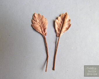 50 pieces Brown Leaves Handmade Mulberry Paper With Stems Crafts Supply Embossed Paper Leaf Decorations