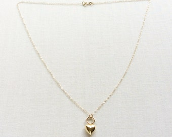 14k Gold Heart Necklace, 14k Heart Necklace, Small Gold Heart Necklace, Tiny Gold Heart Necklace, 14k Solid Gold Heart Necklace, 14KNheart