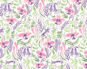 Pink Paradise, Designed by Rae Ritchie for Dear Stella Fabrics, White Orchids, Fabric by the Yard, ST-SRR1030WH