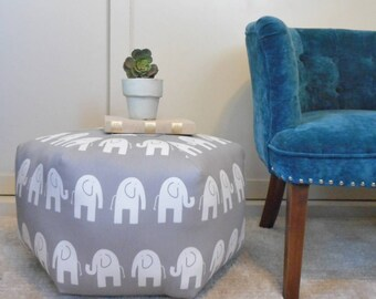 Grey Elephant pouf ottoman, floor pillow, dorm room furniture, college gift