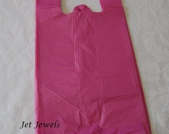 50 Plastic Bags, Pink Bags, Pink Plastic Bags, Hot Pink Bags, Shopping Bags, Party Favor Bags, T Shirt Bags, Bags with Handles 7x16