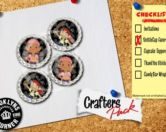 Jake and the Neverland Pirates Inspired - Crafters Pack - Set of 4 Flattened Bottle Caps - For Crafting, Hair Bows, Pendants, Magnets