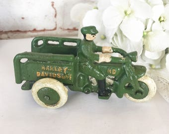 Vintage Harley Davidson Motorcycle cast metal toy, 3 wheeler bike, Army tricycle delivery, Cart Wagon Truck décor, collectable cast iron toy