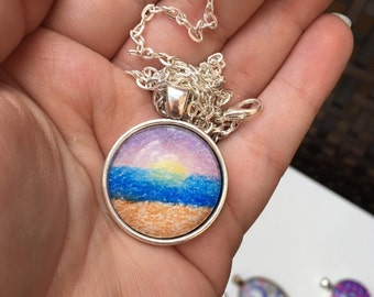Small Circle Beach Sunrise Drawing Necklace