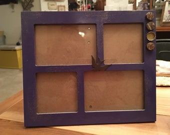 8x10 purple painted frame with 4 openings