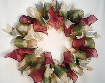 Country ribbon wreath, everyday wreath, all occasion wreath, wall decor wreath, burgundy wreath.