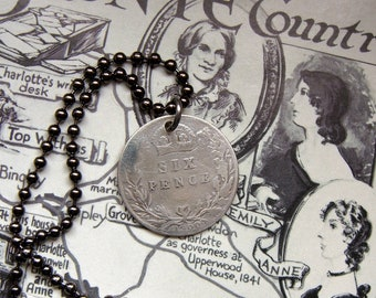 Lucky sixpence, Queen Victoria sixpence, Coin necklace, Victorian sixpence, Sterling silver, Mens necklace, 1900, Antique sixpence, Bride