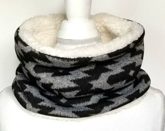Aztec Sherpa Cowl - Womens Scarf - Winter Cowl - Aztec Scarf - Faux Fur Cowl - Single Loop Scarf - Stitched With Joy Co