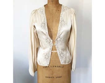 Vintage 20s Jazz Age Blouson Sleeve Silk and Lace Blouse, Handmade Glass Buttons Gatsby Art Deco Style Fashion Plunging Neckline Med Large