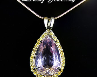 Amulet of the nymph. 14 ct. Amethrine And Sapphires Gold Pendant. ametrine beads,natural ametrine, ametrine crystal, ametrine necklace, ring