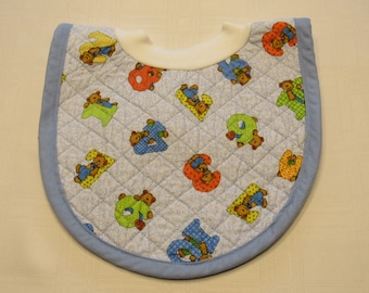 Bears with Numbers Pop-on Quilted Baby Bib