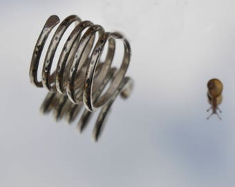 Sterling silver adjustable spotty wrap ring