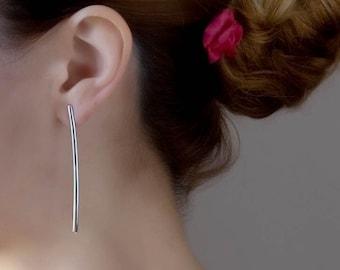 Long Bar Earrings, Minimalist Earrings, Sterling Silver Long Earrings, Stick Earrings, Line Earrings, Delicate Earrings, Dainty Long Studs