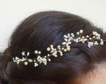 Bohemian Headpiece, Pearly halo, pearl hair vine, bridal hair vine, hair vine halo, forehead band, flower hair vine, pearl hair crown