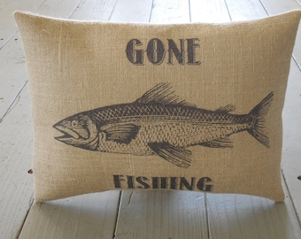 Gone Fishing Burlap Pillow, Shabby Chic, cabin decor, man cave,Farmhouse Pillows, US7,  INSERT INCLUDED