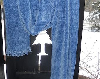 Light Denim Blue Handwoven Chenille Scarf for Men or Women