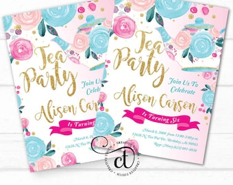 Tea Party Invitation, Tea Party Birthday Invitation, Tea Party Birthday Party, Tea Party Party, Tea,Princess Tea, Glitter Gold, Pink, Floral