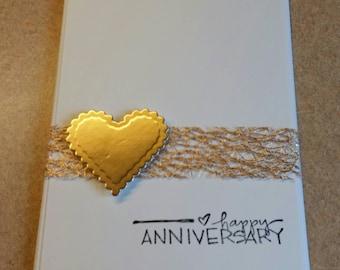 Handmade Anniversary Card. Congratulations.