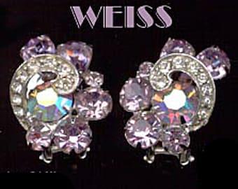 Vintage Weiss Clip Earrings Lavender Rhinestone Silver Tone