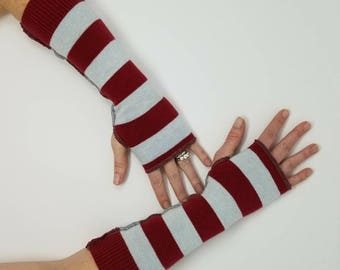 Xsmall Arm warmers, OOAK clothing, upcycled fingerless gloves, upcycled sweaters, wrist warmers, red stripe gloves, recycle, upcycled gloves