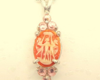 SALE, Carved Shell, Antique Cameo Necklace, Sterling Silver, Filigree Setting, Italian Cameo, Hand Carved, Three Muses